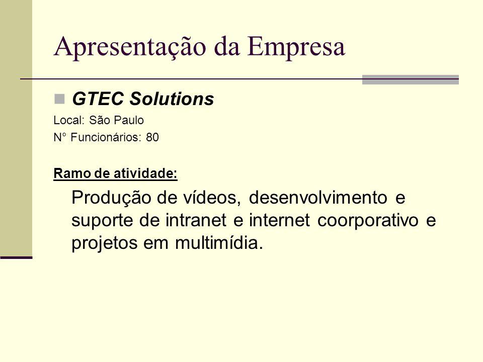 Apresentação da Empresa GTEC Solutions Local: São Paulo N° Funcionários: 80 Ramo de atividade: Produção de vídeos, desenvolvimento e suporte de intran