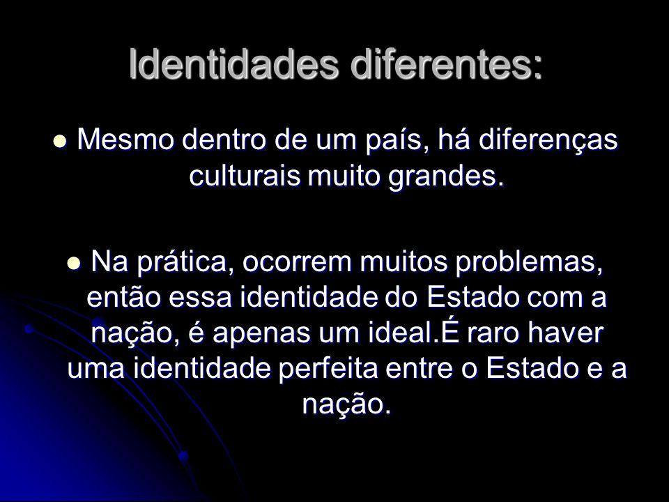 Identidades diferentes: Mesmo dentro de um país, há diferenças culturais muito grandes. Mesmo dentro de um país, há diferenças culturais muito grandes