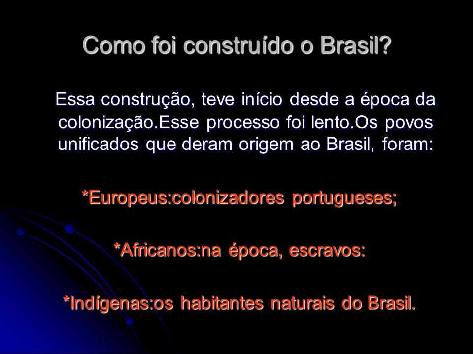 Como foi construído o Brasil? Essa construção, teve início desde a época da colonização.Esse processo foi lento.Os povos unificados que deram origem a