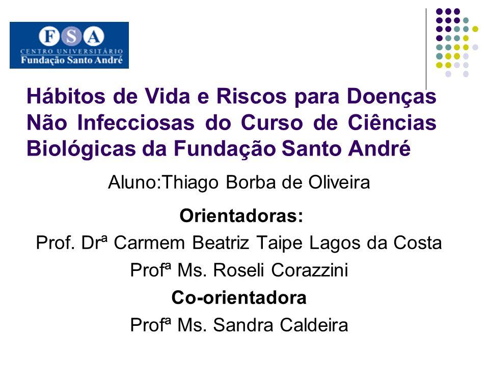 Hábitos de Vida e Riscos para Doenças Não Infecciosas do Curso de Ciências Biológicas da Fundação Santo André Aluno:Thiago Borba de Oliveira Orientado