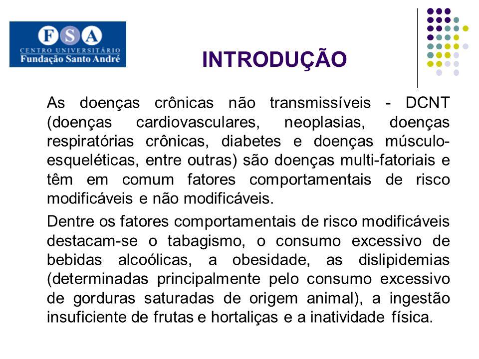 INTRODUÇÃO As doenças crônicas não transmissíveis - DCNT (doenças cardiovasculares, neoplasias, doenças respiratórias crônicas, diabetes e doenças mús