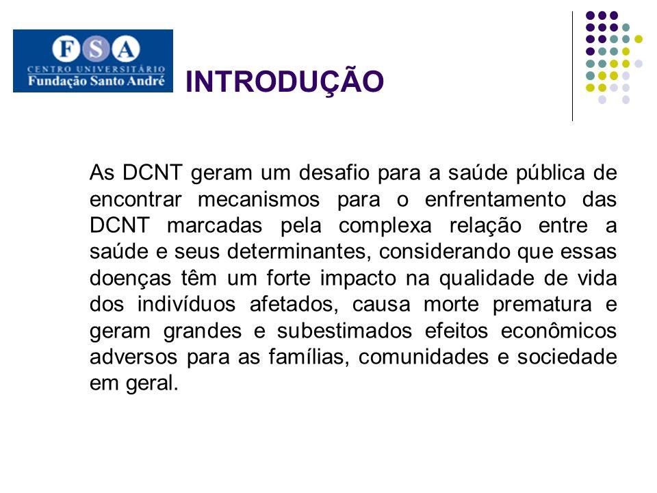 INTRODUÇÃO As DCNT geram um desafio para a saúde pública de encontrar mecanismos para o enfrentamento das DCNT marcadas pela complexa relação entre a