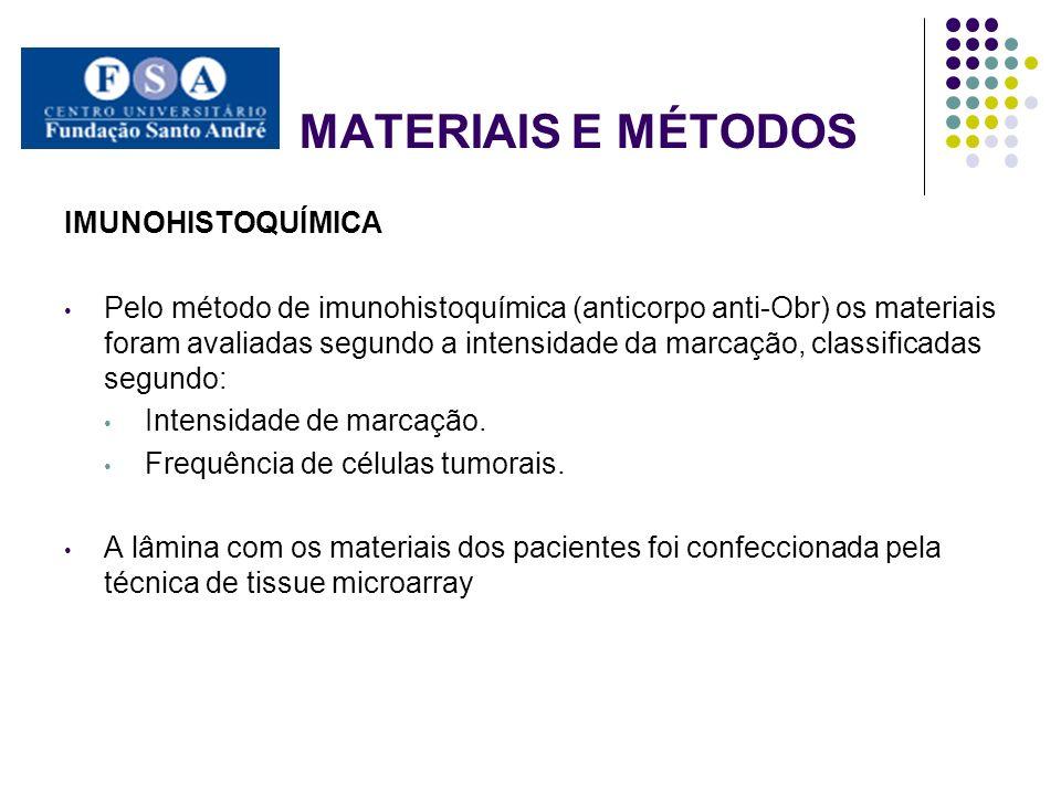 MATERIAIS E MÉTODOS IMUNOHISTOQUÍMICA Pelo método de imunohistoquímica (anticorpo anti-Obr) os materiais foram avaliadas segundo a intensidade da marc