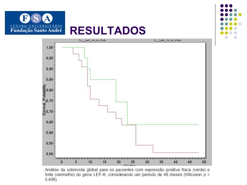 Análise da sobrevida global para os pacientes com expressão positiva fraca (verde) e forte (vermelho) do gene LEP-R, considerando um período de 48 mes