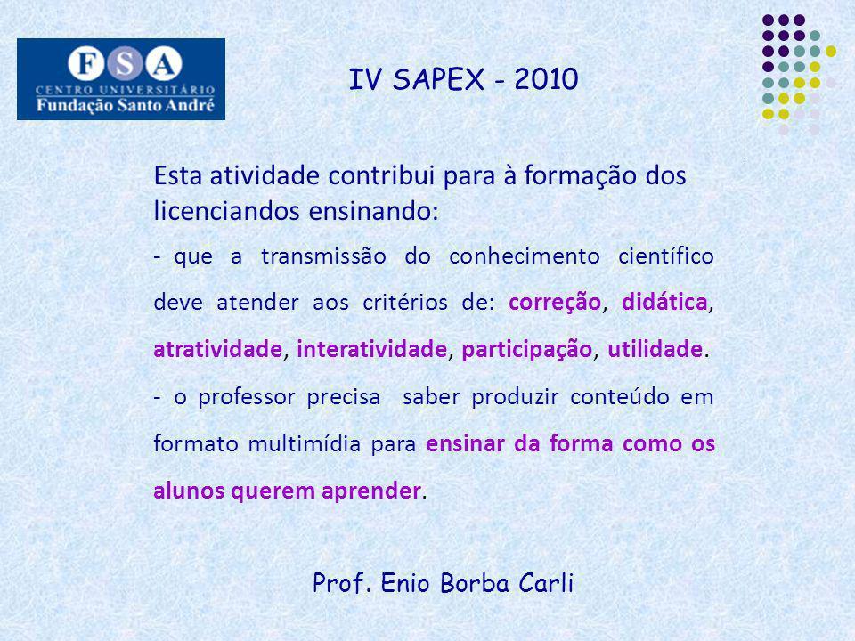 Prof. Enio Borba Carli IV SAPEX - 2010 Esta atividade contribui para à formação dos licenciandos ensinando: - que a transmissão do conhecimento cientí