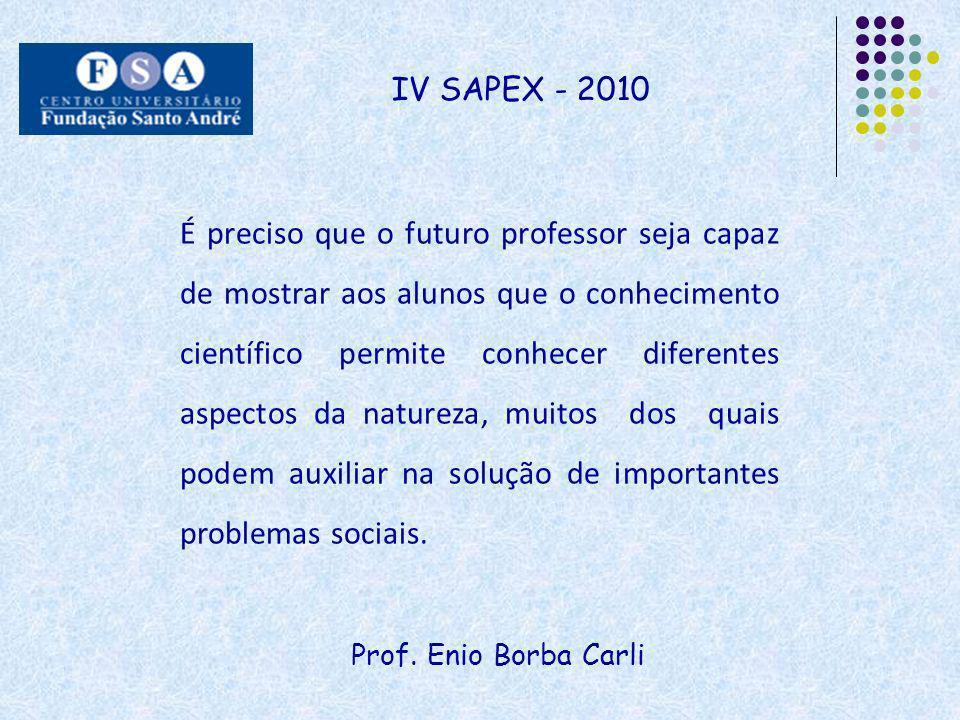 Prof. Enio Borba Carli IV SAPEX - 2010 É preciso que o futuro professor seja capaz de mostrar aos alunos que o conhecimento científico permite conhece