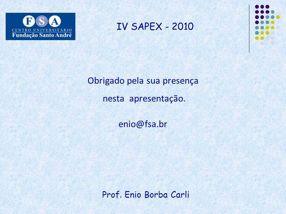 Prof. Enio Borba Carli IV SAPEX - 2010 Obrigado pela sua presença nesta apresentação. enio@fsa.br