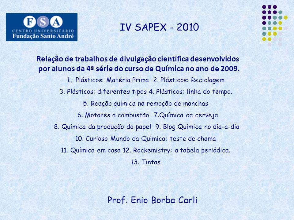 Prof. Enio Borba Carli IV SAPEX - 2010 Relação de trabalhos de divulgação científica desenvolvidos por alunos da 4ª série do curso de Química no ano d