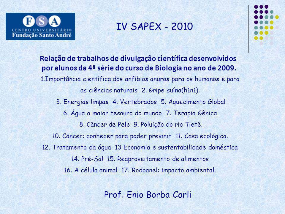Prof. Enio Borba Carli IV SAPEX - 2010 Relação de trabalhos de divulgação científica desenvolvidos por alunos da 4ª série do curso de Biologia no ano