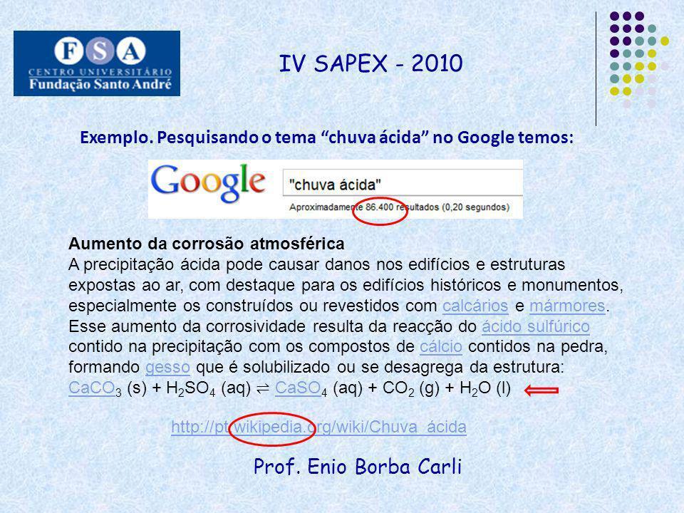 Prof. Enio Borba Carli IV SAPEX - 2010 Exemplo. Pesquisando o tema chuva ácida no Google temos: http://pt.wikipedia.org/wiki/Chuva_ácida Aumento da co