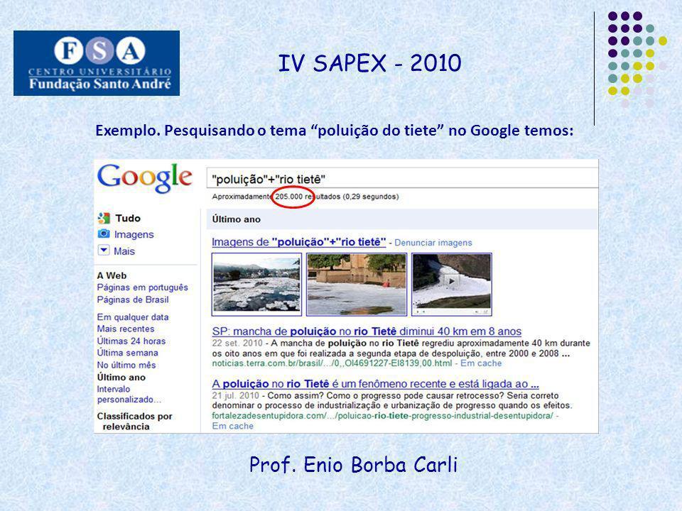 Prof. Enio Borba Carli IV SAPEX - 2010 Exemplo. Pesquisando o tema poluição do tiete no Google temos: