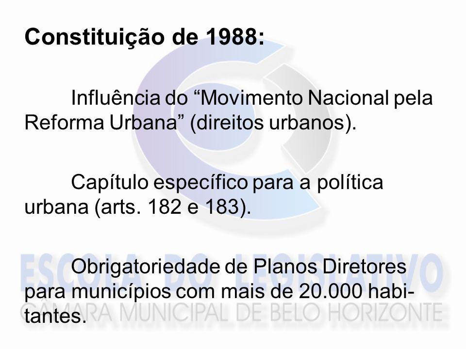 Constituição de 1988: Influência do Movimento Nacional pela Reforma Urbana (direitos urbanos). Capítulo específico para a política urbana (arts. 182 e