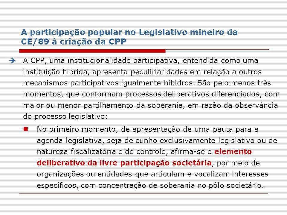 A participação popular no Legislativo mineiro da CE/89 à criação da CPP A CPP, uma institucionalidade participativa, entendida como uma instituição hí