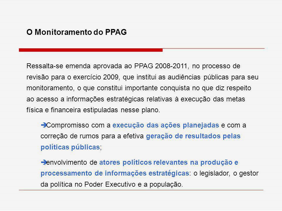O Monitoramento do PPAG Ressalta-se emenda aprovada ao PPAG 2008-2011, no processo de revisão para o exercício 2009, que institui as audiências públic