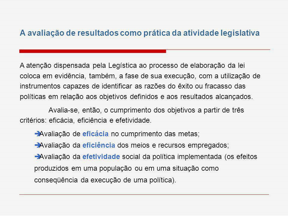 A avaliação de resultados como prática da atividade legislativa A atenção dispensada pela Legística ao processo de elaboração da lei coloca em evidênc