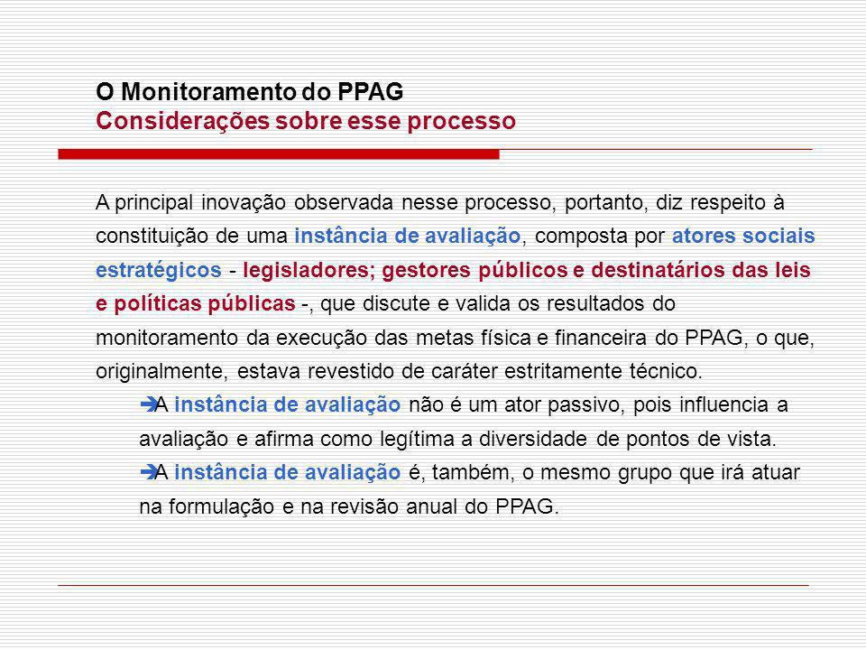O Monitoramento do PPAG Considerações sobre esse processo A principal inovação observada nesse processo, portanto, diz respeito à constituição de uma