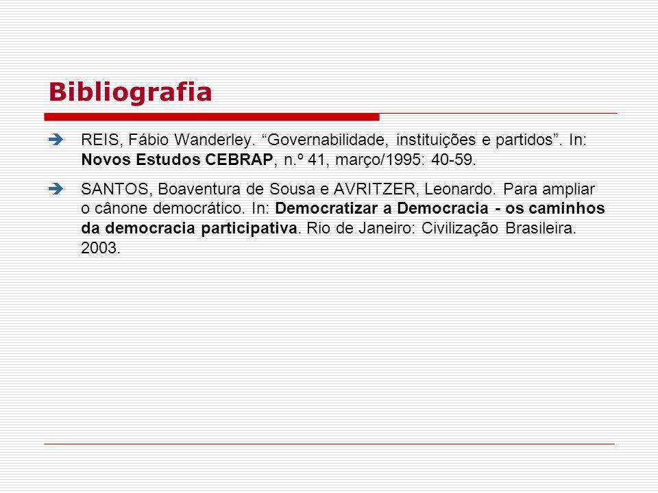 Bibliografia REIS, Fábio Wanderley. Governabilidade, instituições e partidos. In: Novos Estudos CEBRAP, n.º 41, março/1995: 40-59. SANTOS, Boaventura