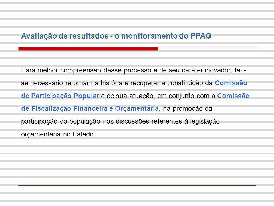 Avaliação de resultados - o monitoramento do PPAG Para melhor compreensão desse processo e de seu caráter inovador, faz- se necessário retornar na his