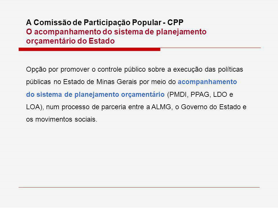 A Comissão de Participação Popular - CPP O acompanhamento do sistema de planejamento orçamentário do Estado Opção por promover o controle público sobr