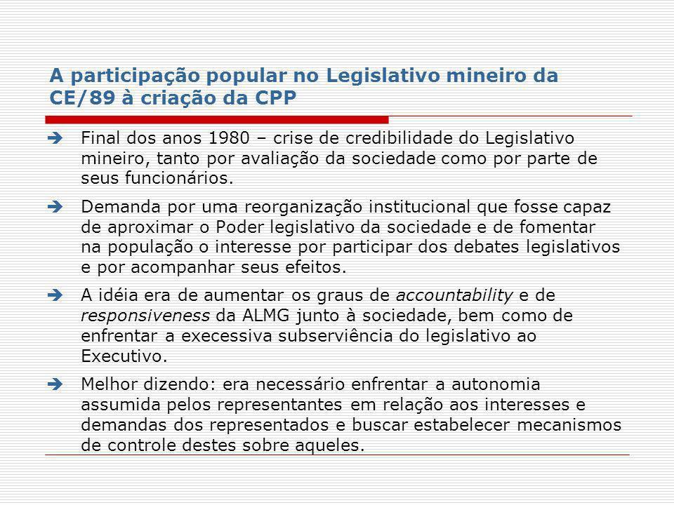 A participação popular no Legislativo mineiro da CE/89 à criação da CPP Final dos anos 1980 – crise de credibilidade do Legislativo mineiro, tanto por