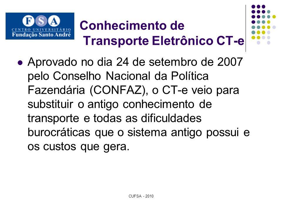 Conhecimento de Transporte Eletrônico CT-e Aprovado no dia 24 de setembro de 2007 pelo Conselho Nacional da Política Fazendária (CONFAZ), o CT-e veio