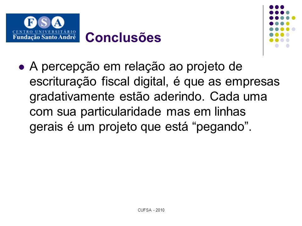 Conclusões A percepção em relação ao projeto de escrituração fiscal digital, é que as empresas gradativamente estão aderindo. Cada uma com sua particu