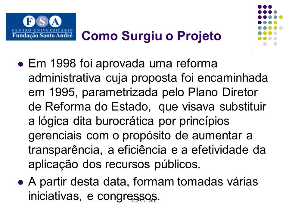 Como Surgiu o Projeto Em 1998 foi aprovada uma reforma administrativa cuja proposta foi encaminhada em 1995, parametrizada pelo Plano Diretor de Refor