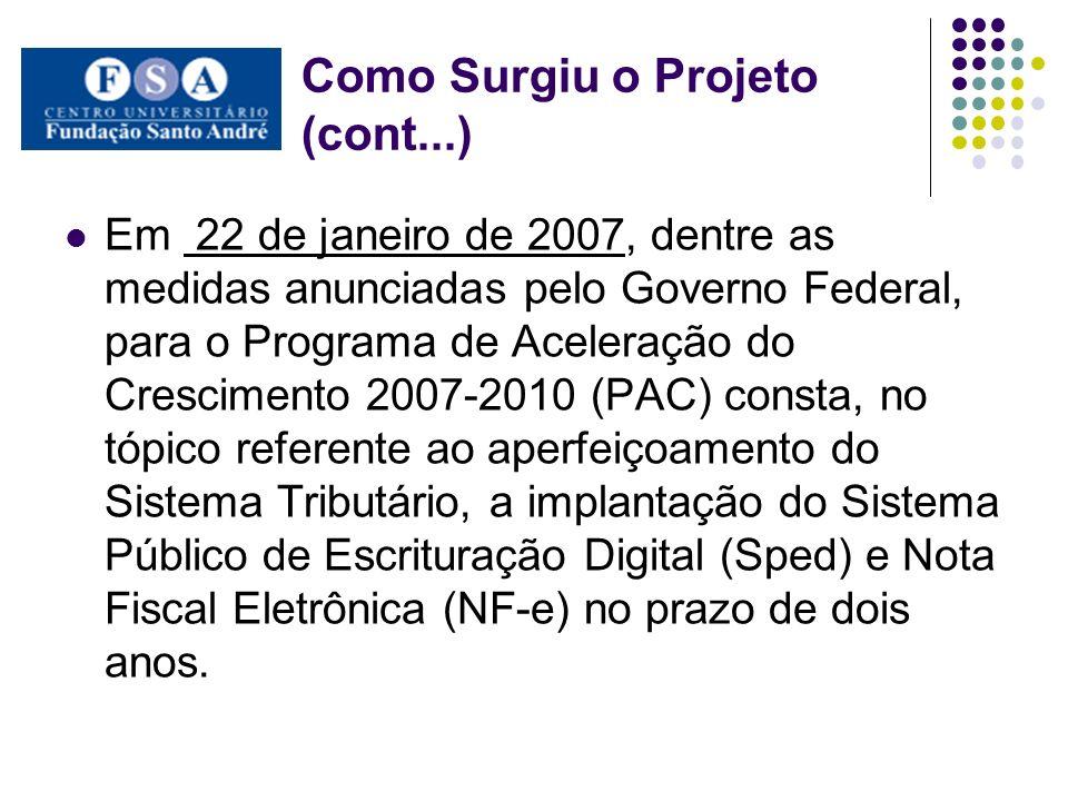 Como Surgiu o Projeto (cont...) Em 22 de janeiro de 2007, dentre as medidas anunciadas pelo Governo Federal, para o Programa de Aceleração do Crescime