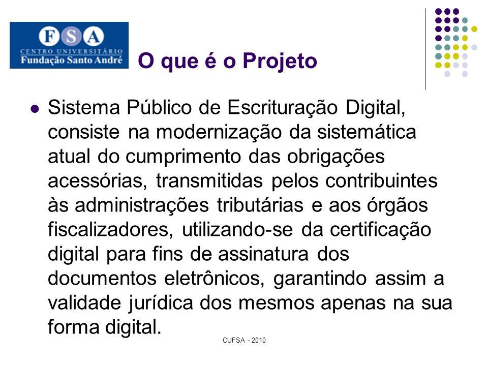 O que é o Projeto Sistema Público de Escrituração Digital, consiste na modernização da sistemática atual do cumprimento das obrigações acessórias, tra