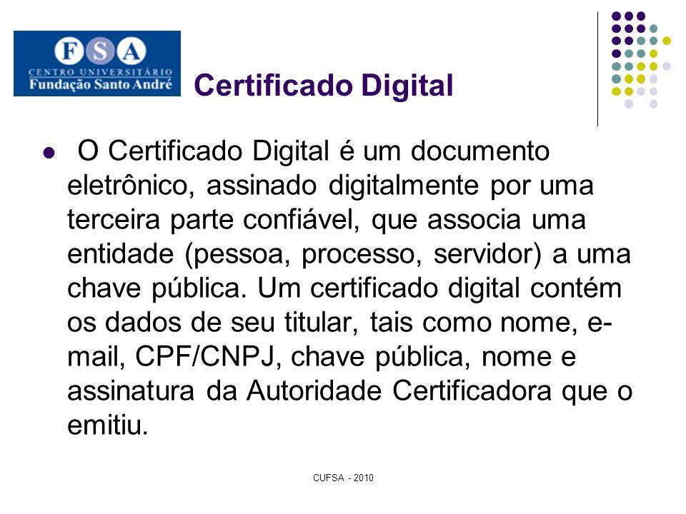 Certificado Digital O Certificado Digital é um documento eletrônico, assinado digitalmente por uma terceira parte confiável, que associa uma entidade
