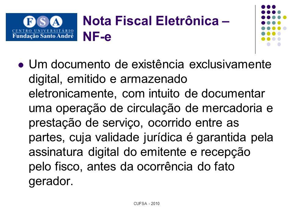 Nota Fiscal Eletrônica – NF-e Um documento de existência exclusivamente digital, emitido e armazenado eletronicamente, com intuito de documentar uma o