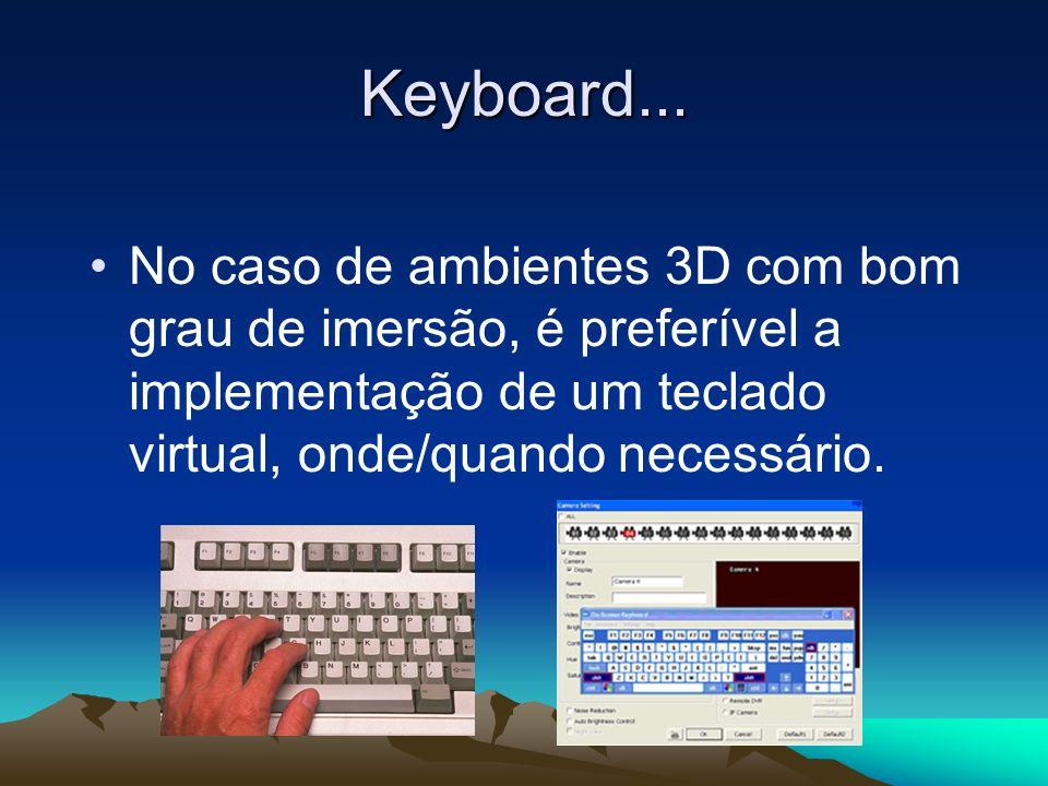Keyboard... No caso de ambientes 3D com bom grau de imersão, é preferível a implementação de um teclado virtual, onde/quando necessário.