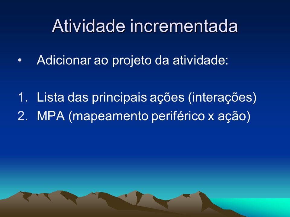 Atividade incrementada Adicionar ao projeto da atividade: 1.Lista das principais ações (interações) 2.MPA (mapeamento periférico x ação)