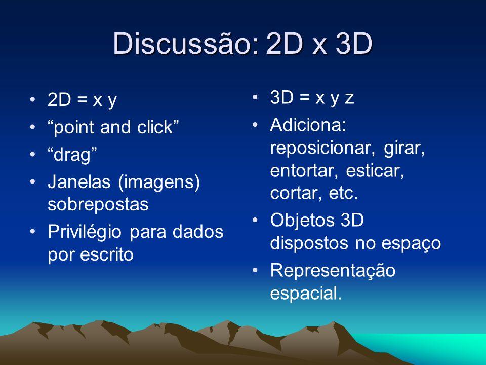 Discussão: 2D x 3D 2D = x y point and click drag Janelas (imagens) sobrepostas Privilégio para dados por escrito 3D = x y z Adiciona: reposicionar, gi