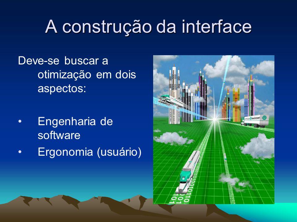 A construção da interface Deve-se buscar a otimização em dois aspectos: Engenharia de software Ergonomia (usuário)