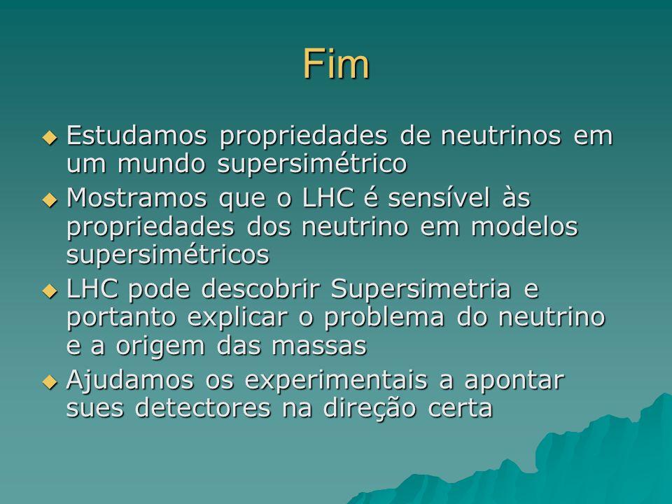 Fim Estudamos propriedades de neutrinos em um mundo supersimétrico Estudamos propriedades de neutrinos em um mundo supersimétrico Mostramos que o LHC