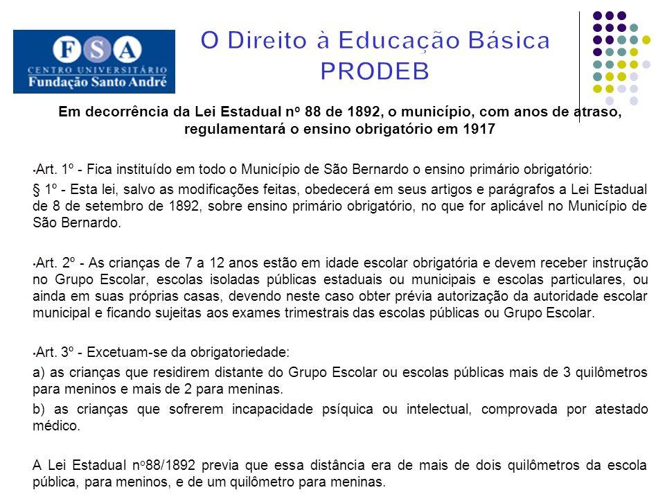 Em decorrência da Lei Estadual n o 88 de 1892, o município, com anos de atraso, regulamentará o ensino obrigatório em 1917 Art. 1º - Fica instituído e