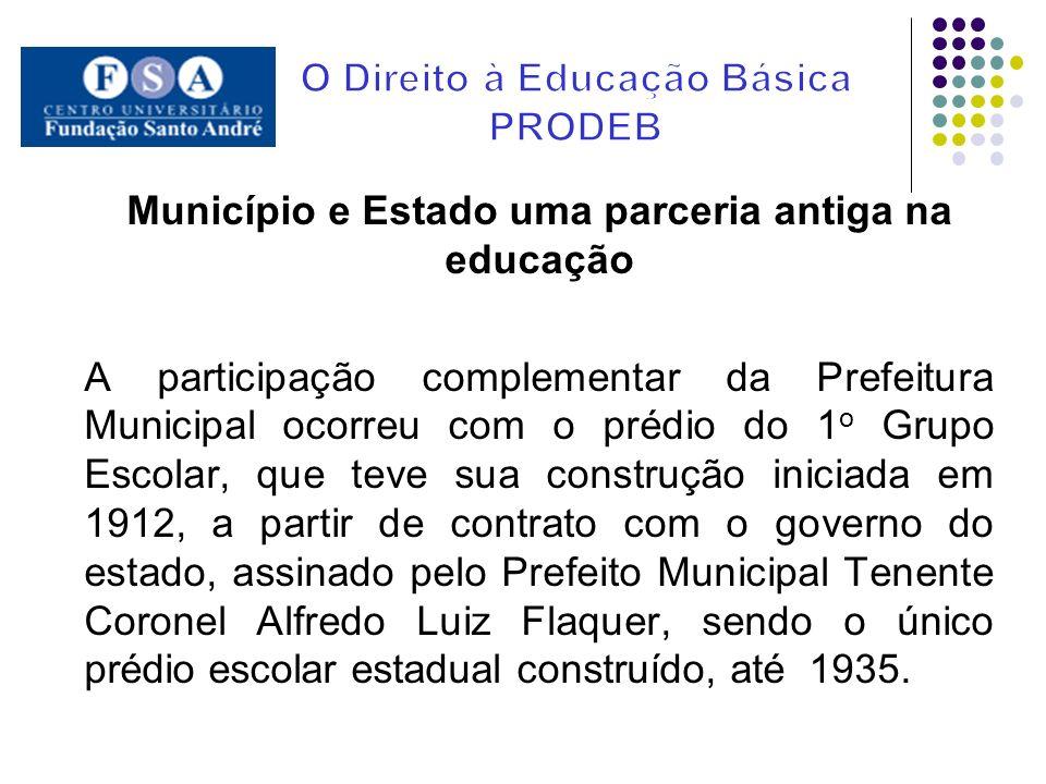Município e Estado uma parceria antiga na educação A participação complementar da Prefeitura Municipal ocorreu com o prédio do 1 o Grupo Escolar, que