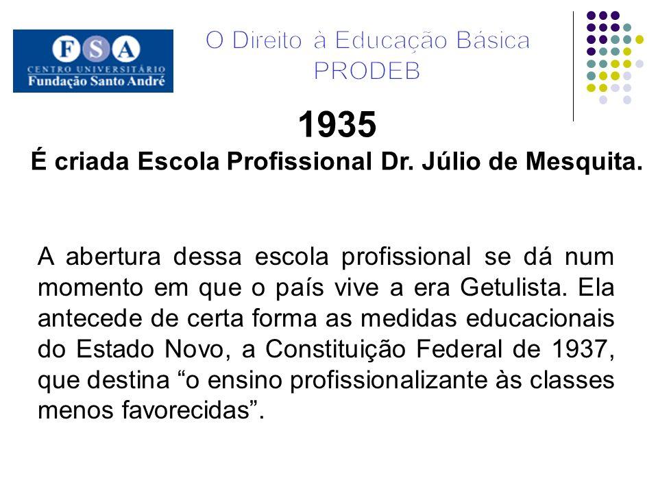 A abertura dessa escola profissional se dá num momento em que o país vive a era Getulista. Ela antecede de certa forma as medidas educacionais do Esta
