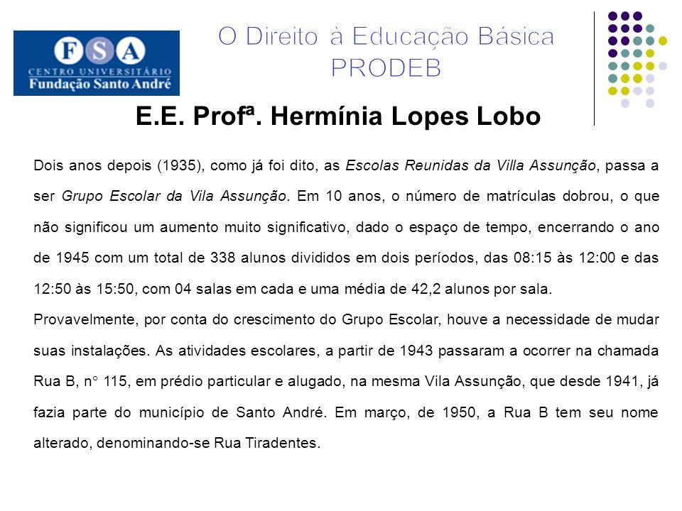 E.E. Profª. Hermínia Lopes Lobo Dois anos depois (1935), como já foi dito, as Escolas Reunidas da Villa Assunção, passa a ser Grupo Escolar da Vila As