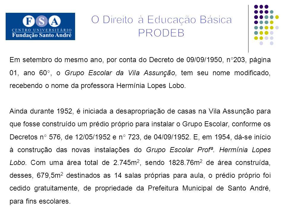 Em setembro do mesmo ano, por conta do Decreto de 09/09/1950, n°203, página 01, ano 60°, o Grupo Escolar da Vila Assunção, tem seu nome modificado, re