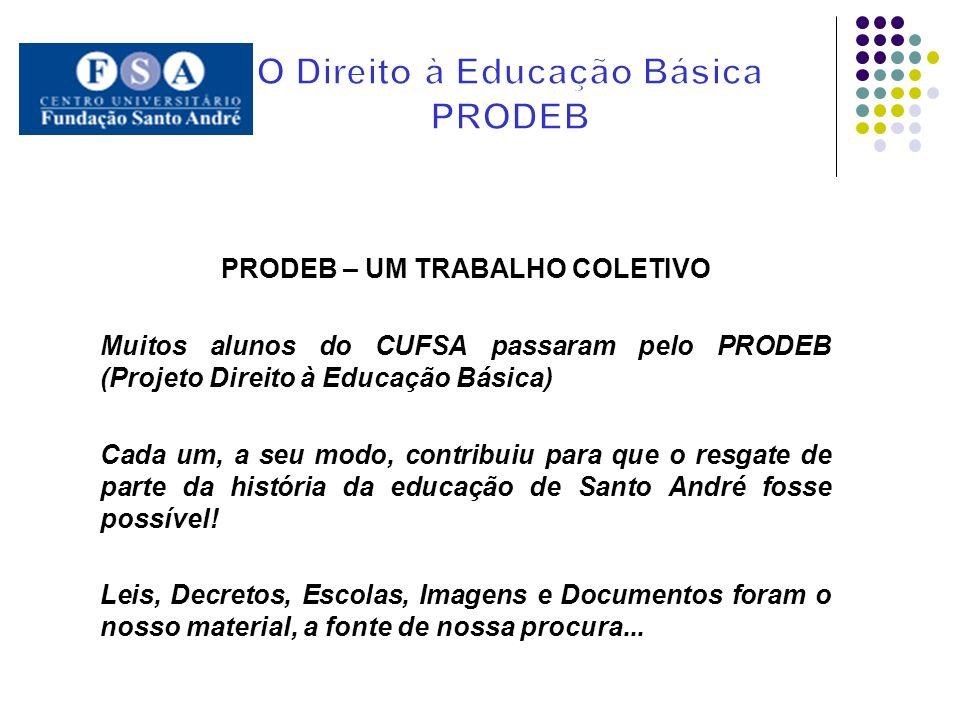 PRODEB – UM TRABALHO COLETIVO Muitos alunos do CUFSA passaram pelo PRODEB (Projeto Direito à Educação Básica) Cada um, a seu modo, contribuiu para que
