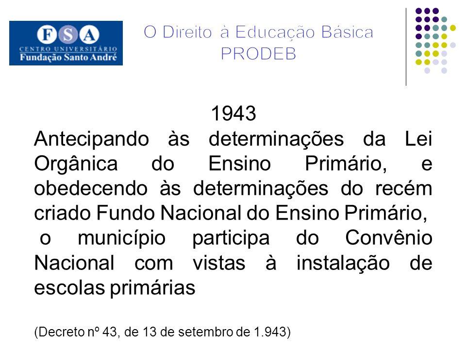 1943 Antecipando às determinações da Lei Orgânica do Ensino Primário, e obedecendo às determinações do recém criado Fundo Nacional do Ensino Primário,
