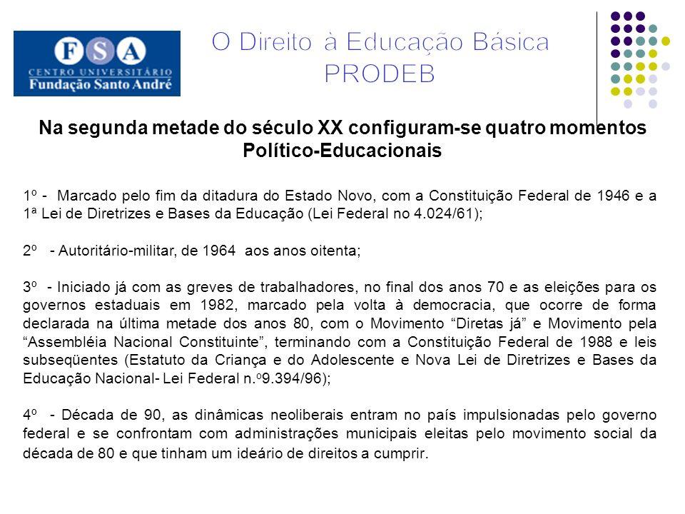 Na segunda metade do século XX configuram-se quatro momentos Político-Educacionais 1º - Marcado pelo fim da ditadura do Estado Novo, com a Constituiçã