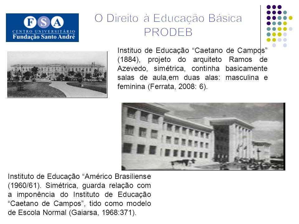 Instituo de Educação Caetano de Campos (1884), projeto do arquiteto Ramos de Azevedo, simétrica, continha basicamente salas de aula,em duas alas: masc