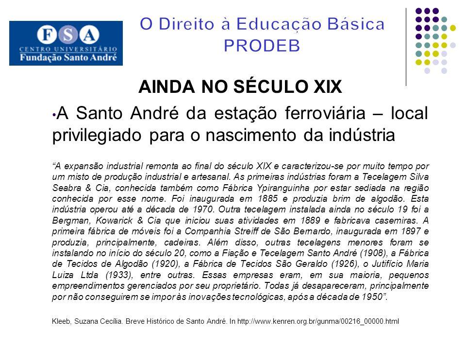 AINDA NO SÉCULO XIX A Santo André da estação ferroviária – local privilegiado para o nascimento da indústria A expansão industrial remonta ao final do