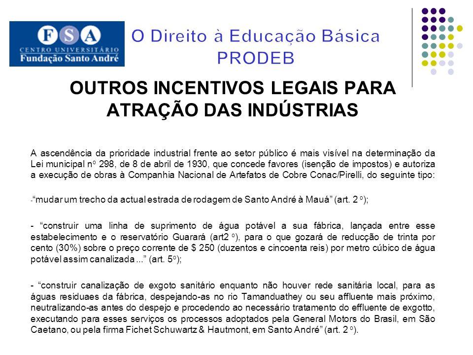 OUTROS INCENTIVOS LEGAIS PARA ATRAÇÃO DAS INDÚSTRIAS A ascendência da prioridade industrial frente ao setor público é mais visível na determinação da