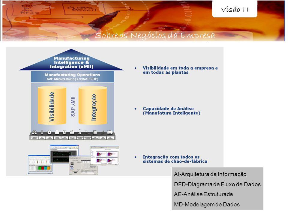 AI-Arquitetura da Informação DFD-Diagrama de Fluxo de Dados AE-Análise Estruturada MD-Modelagem de Dados Visão TI Sobre os Negócios da Empresa