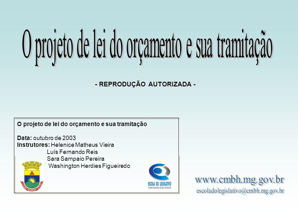 O PROJETO DE LEI DO ORÇAMENTO E SUA TRAMITAÇÃO Outubro 2003 Instrutores: -------- Helenice Matheus Vieira -------- Luiz Fernando Reis -------- Sara Sampaio Pereira -------- Washington Herdies Figueiredo