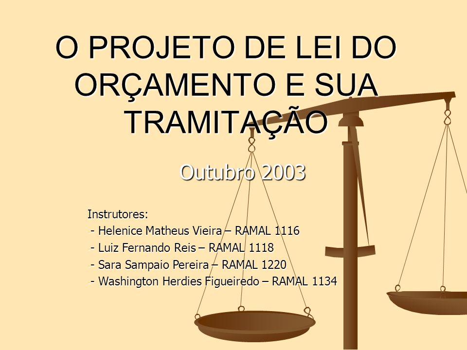 O PROJETO DE LEI DO ORÇAMENTO E SUA TRAMITAÇÃO Outubro 2003 Instrutores: - - - - Helenice Matheus Vieira – RAMAL 1116 Luiz Fernando Reis – RAMAL 1118